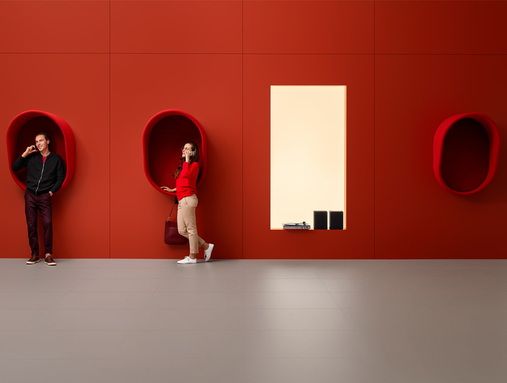 Mute Design Wall Mounted Acoustic Phone Booth in Open Space Red with Handbag Hook