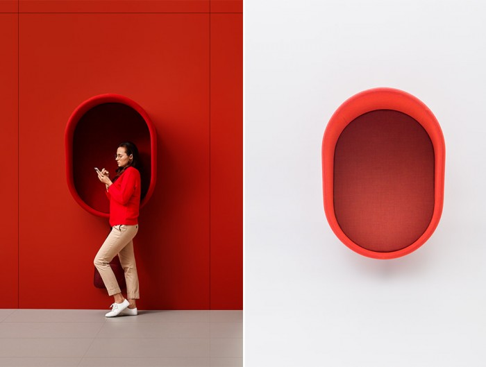 Mute Design Wall Mounted Acoustic Telephone Hood in Red