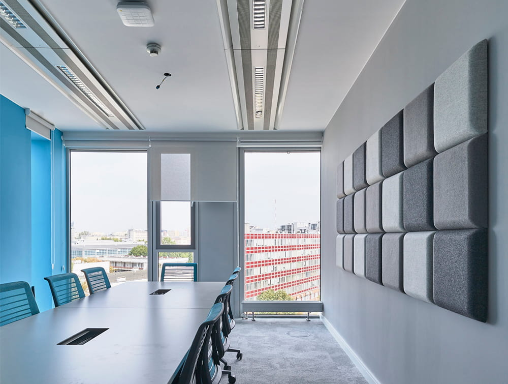 MuteDesign Blocks Square 3D Acoustic Wall Panels Grey in Meeting Room with Chairs and Boardroom Table