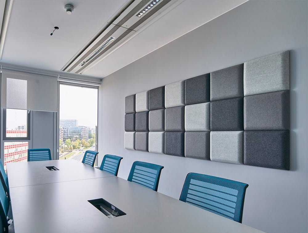 MuteDesign Blocks Square Acoustic Panels in Office with Blue Chairs and Table
