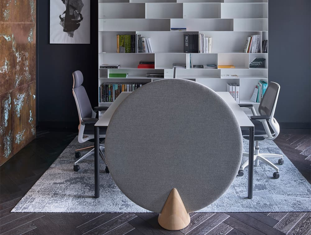 MuteDesign Cone Oval Freestanding Acoustic Panel in Grey Private Office
