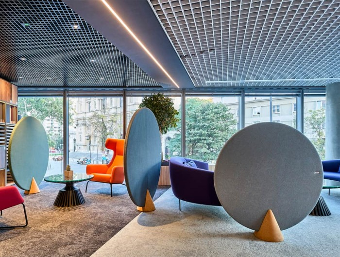 MuteDesign Cone Oval Freestanding Acoustic Screens in Breakout or Reception Area