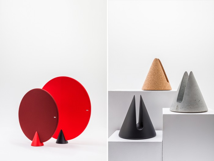 MuteDesign Cone Oval Standing Acoustic Panels in Red with Iconic Stand in Corkboard Black or Concrete