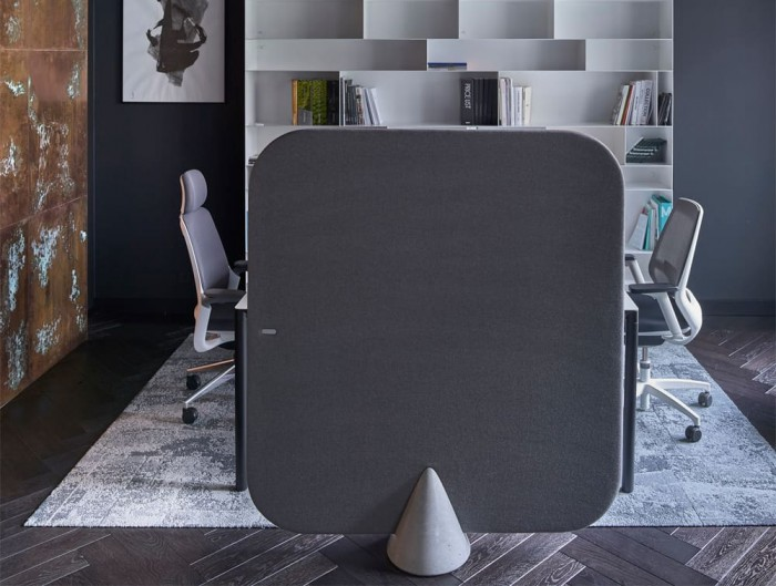 MuteDesign Cone Rectangle Freestanding Acoustic Panel in Grey Private Office