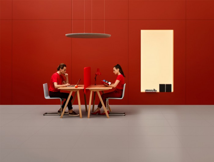 MuteDesign Duo Desk Acoustic Screens in Red with Hanging Round Blocks
