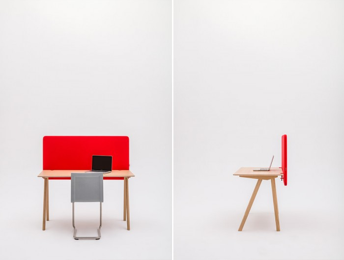MuteDesign Duo Desk Mounted Acoustic Screen in Red with Chair and Laptop