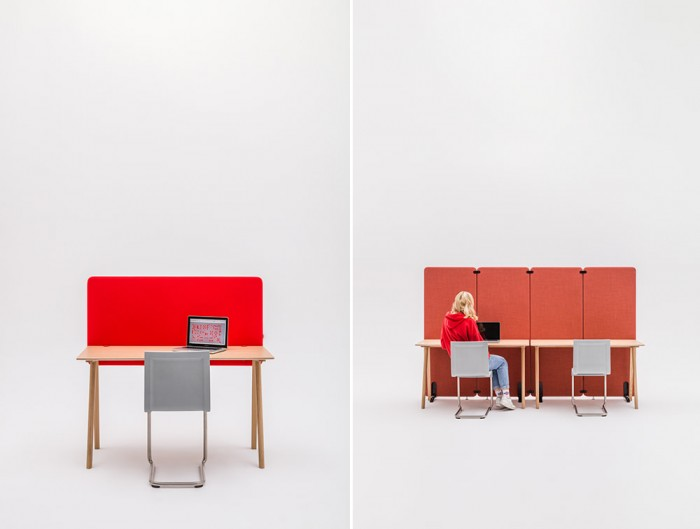 MuteDesign Duo Desk and Freestanding Acoustic Screen in Red