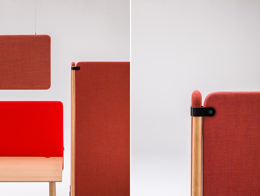 MuteDesign Duo Hanging Desk Freestanding Acoustic Panels in Red