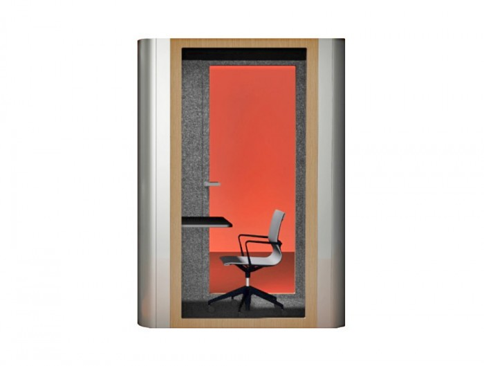 MuteDesign Space M Two Seater Office Acoustic Meeting Pod and Workstation with Wooden Finish Door