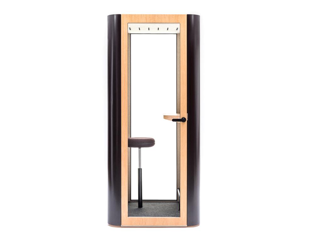 MuteDesign Space S Office Phone Booth with Matt Black Exterior and Veneer Door