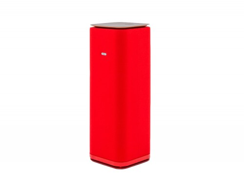 MuteDesign Tower Freestanding Acoustic Column in Red with Black Tabletop