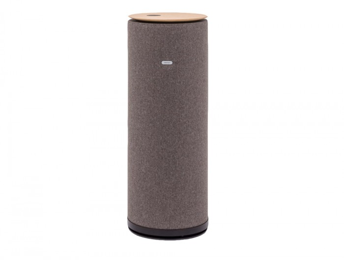 MuteDesign Tower Freestanding Cylinder Acoustic Column with Wireless Phone Charger in Grey