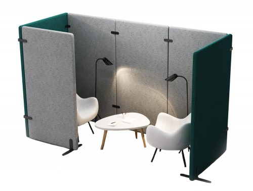 MuteDesign Wall Acoustic Seating Pod with Table and Lounge Chair White