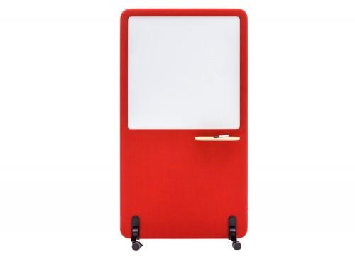 MuteDesign Wall Acoustic Standing Screen with Whiteboard in Red