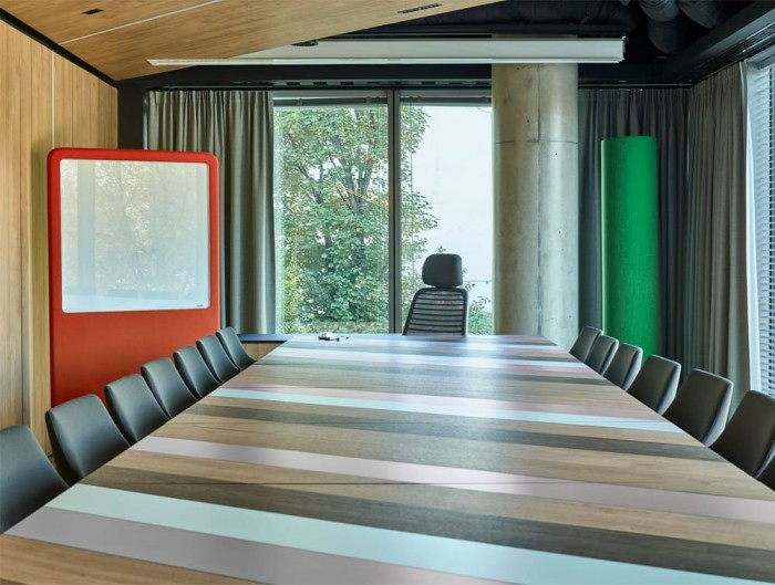 MuteDesign Wall Standing Acoustic Panels with White Board and Tall Tower in Meeting Room