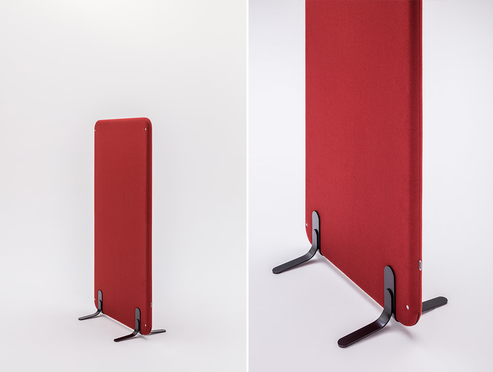MuteDesign Wall Standing Acoustic Screen in Burgundy with Base