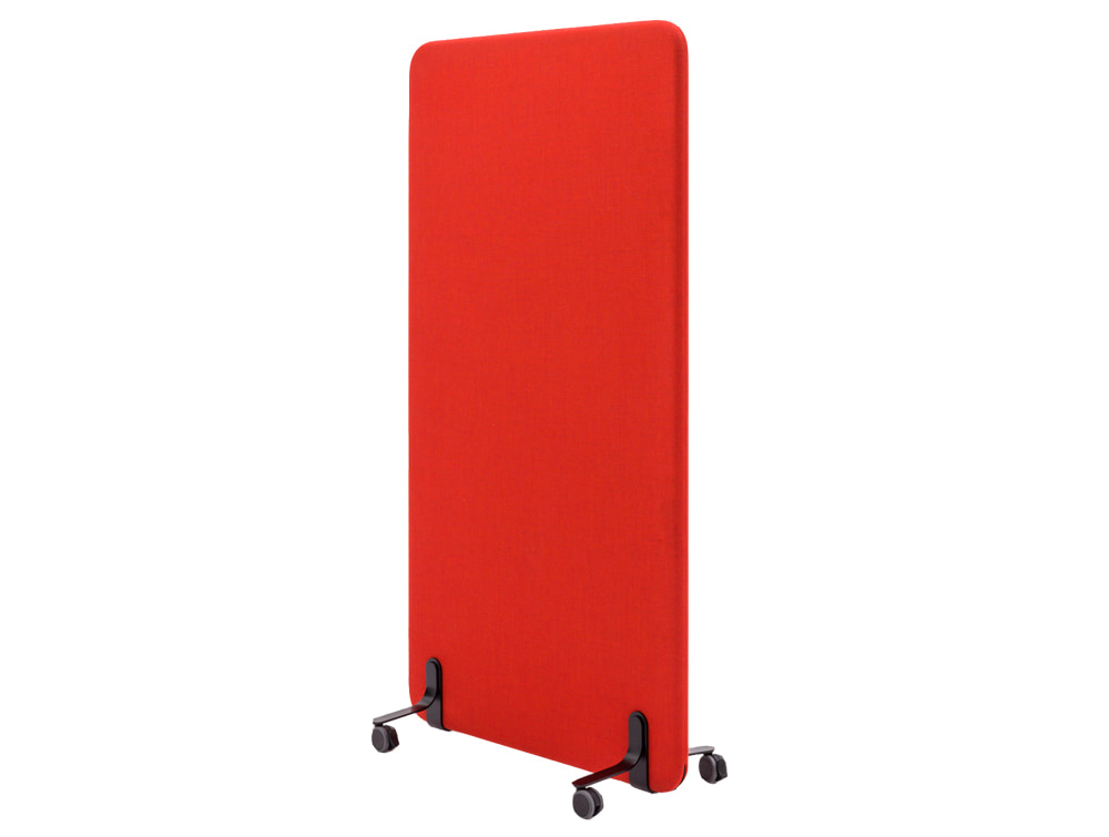 MuteDesign Wall Standing Acoustic Screen in Red with Castors Base
