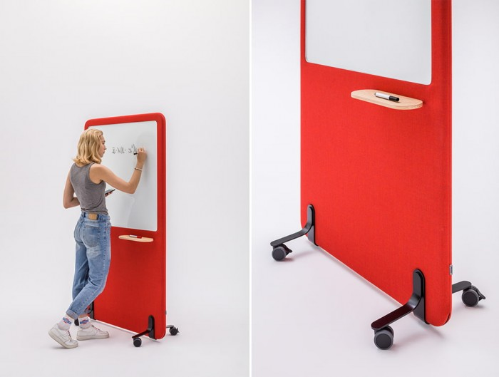 MuteDesign Wall Standing Acoustic Screen in Red with White Board and Wheels
