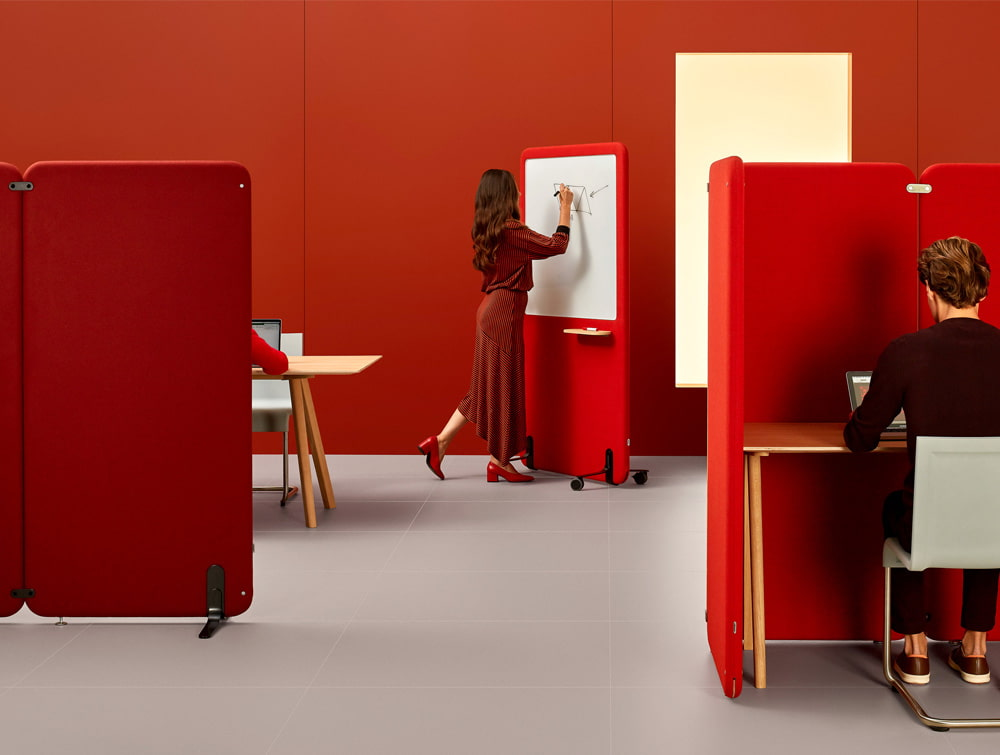 MuteDesign Wall and Duo Acoustic Standing Panel in Red