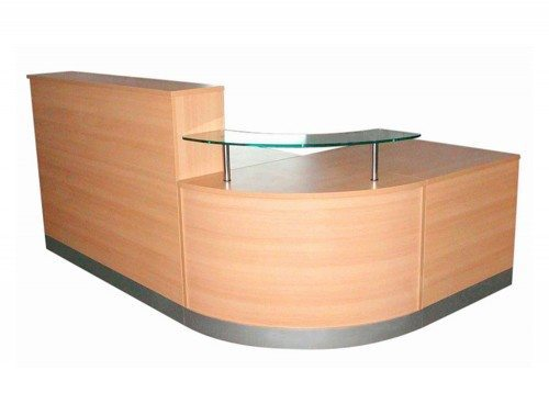 Elite 3-Section Curved Corner Reception Unit in Beech