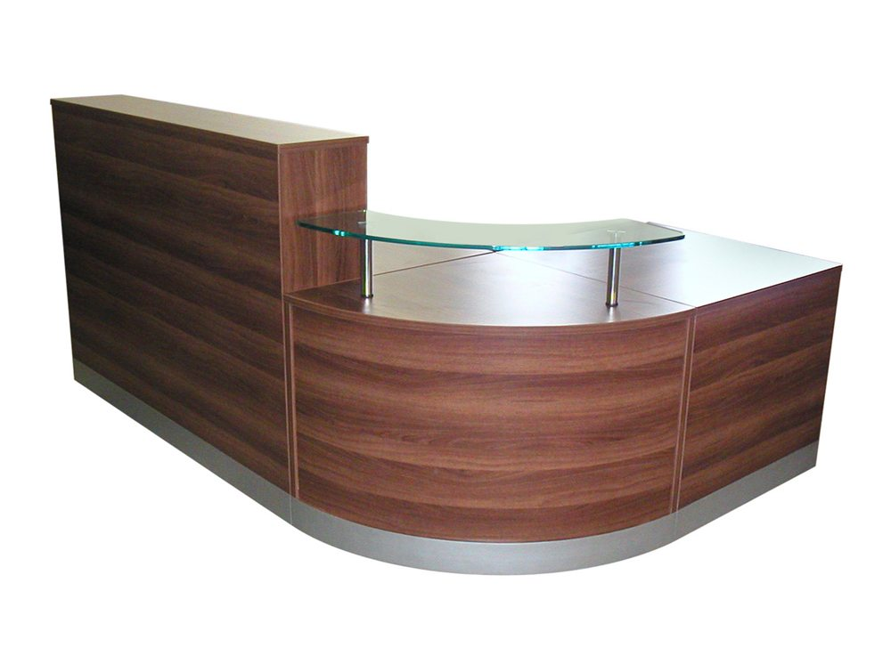 elite curved corner reception unit in dark walnut. Black Bedroom Furniture Sets. Home Design Ideas