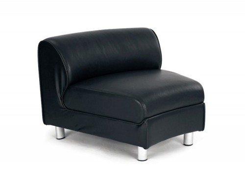 Naples Modular Concave Unit in Black Leather