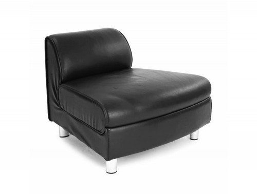 Naples Modular Reception Seating Convex Unit in Black Leather