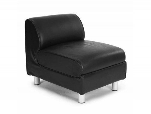 Naples Modular Reception Seating Rectangular Unit in Black Leather