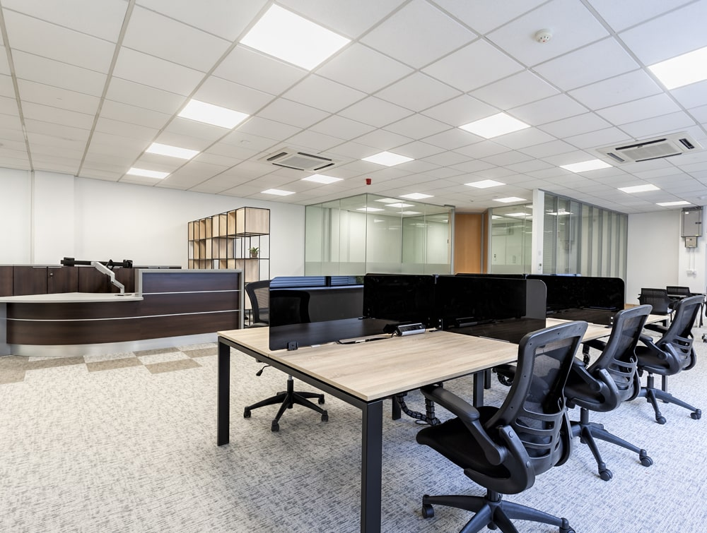 National Technologies Office Doube Desks with Screens and Ergonomic Task Mesh Chairs
