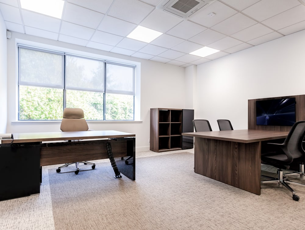 National Technologies Office Executive Manager Desks Dark Walnut with Storage and Chairs