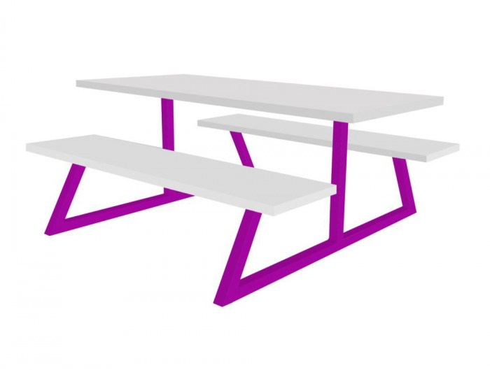 Nova Fast Food Fixed Furniture Set Purple Frame and White Table and Benches