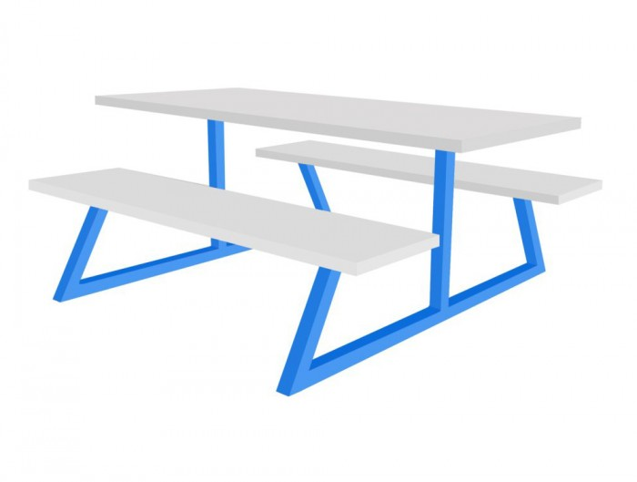 Nova Fast Food Fixed Furniture Set Table and Benches White and Blue