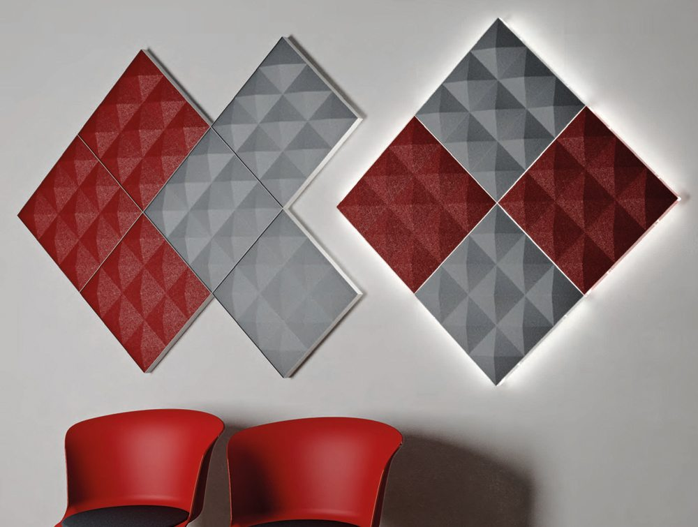 Gaber acoustic screens in red and grey