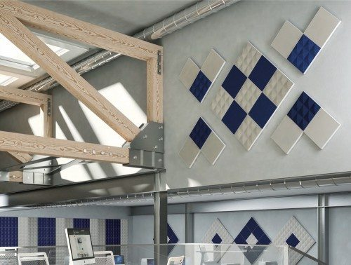 Gaber acoustic screens in blue and white