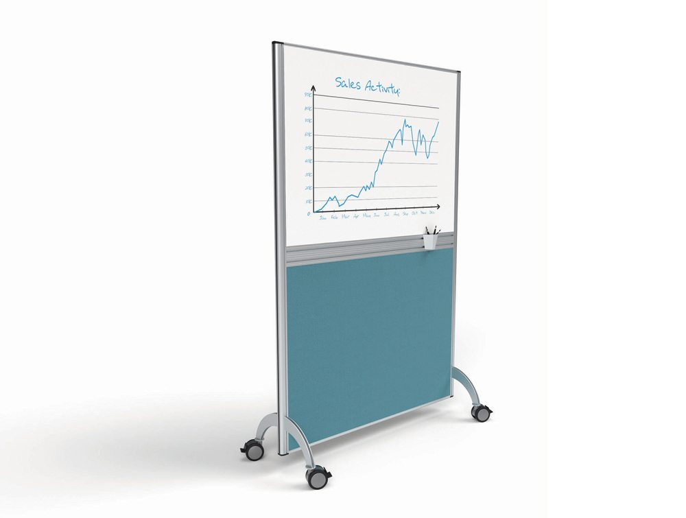 Marathon Mobile Free Standing Screen with Dry Wipe Board