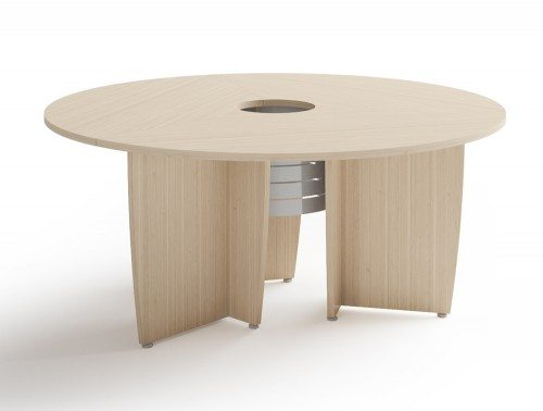 Buronomic succes meeting room round table in bleached oak