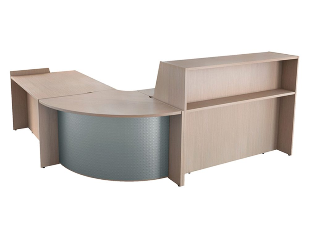 Buronomic reception with corner unit and high work top full angle
