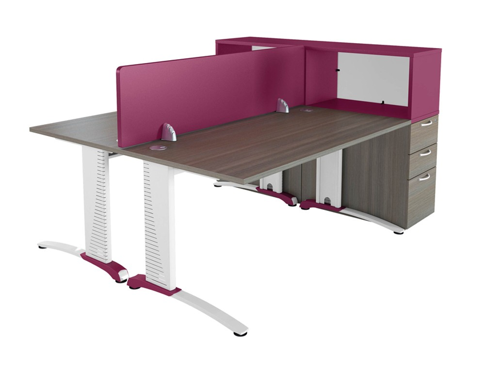 Buronomic Desk with Removable Front Screen and Pedestal