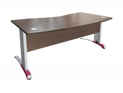 Buronomic C2 Double Wave Desk with Metal Modesty Panel