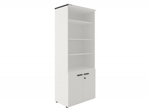 Buronomic 4 shelf bookcase with cupboard in white