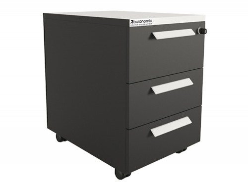 Buronomic mobile pedestal with 3 box drawers in black