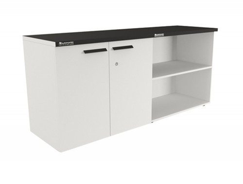 Buronomic storage with open and hinged doors in white