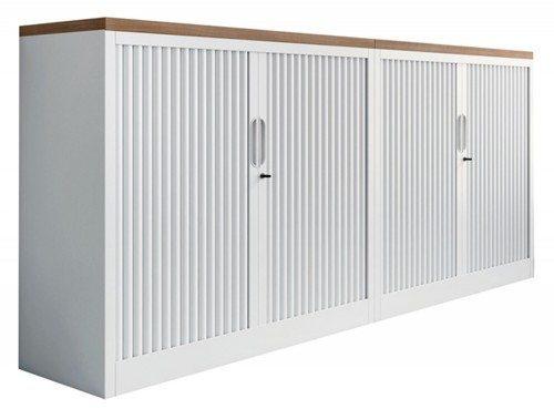Buronomic monochrome metal tambour cupboard