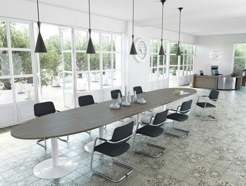 Buronomic modular table with trumpet leg and extension with chairs