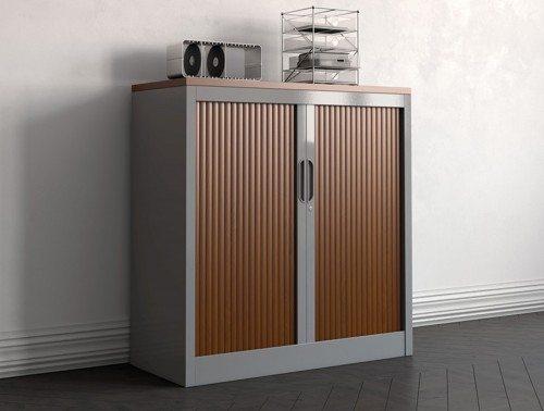 Buronomic two tone metal tambour cupboard