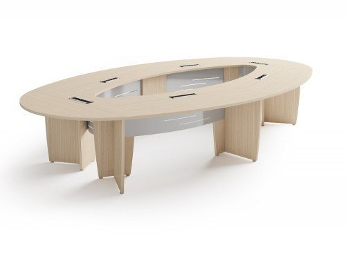 Buronomic succes meeting room elliptical table in bleached oak