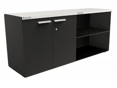 Buronomic storage with open and hinged doors in black