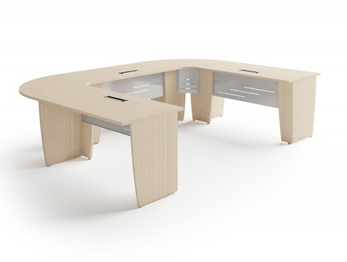 Buronomic succes meeting room U shaped table in bleached oak
