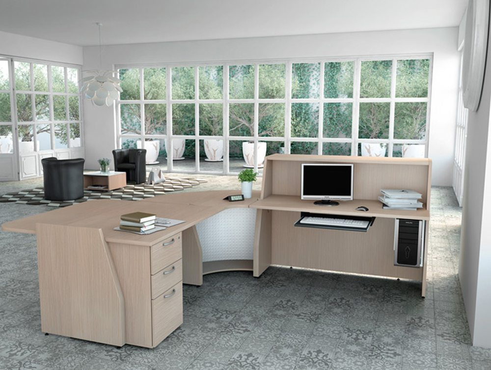 Buronomic reception counter with pedestal and work top inside view