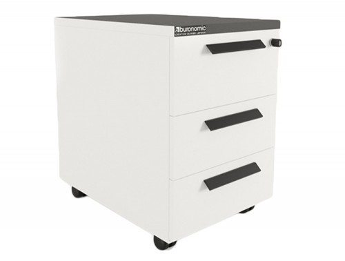 Buronomic mobile pedestal with 3 box drawers in white